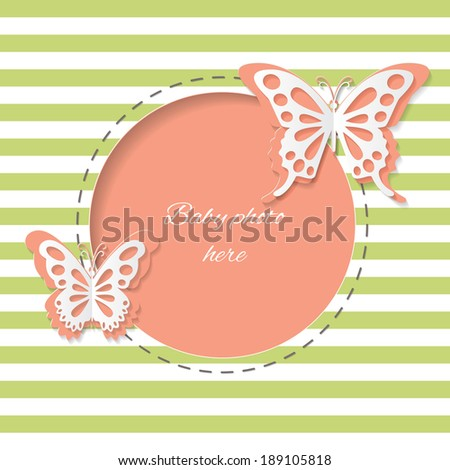 Cute round frame with paper cut butterflies on stripped background. Editable. Easy to use. - stock vector
