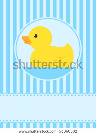 Cute rubber duck greeting card with copy space for your text - vector