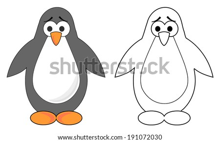 Cute sad cartoon penguin. colorful and outline. vector art image illustration, isolated on white background - stock vector