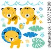 Cute safari animals set isolated on white ( blue and yellow )  - stock vector