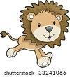 Cute Safari Lion Vector Illustration - stock vector