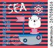 cute sailor bear on board  t...