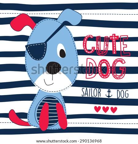 cute sailor dog vector illustration - stock vector