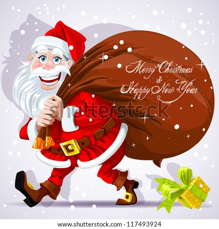 Cute Santa Claus carries a bag of gifts and Happy New Year wishes