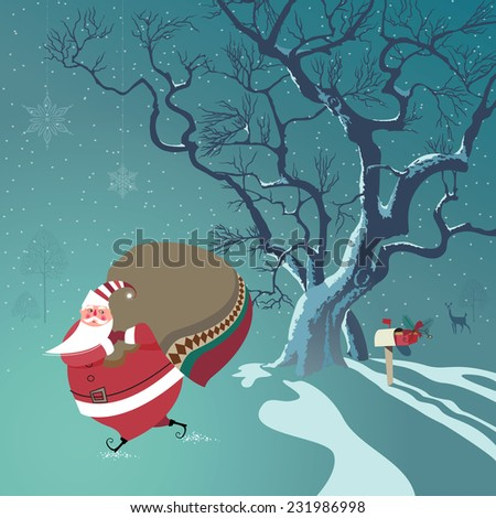 Cute Santa Claus delivers Christmas gifts. One gift he already put in mailbox. Deer watches from distance.Seasons Greetings concept. Vector EPS 10 illustration. - stock vector
