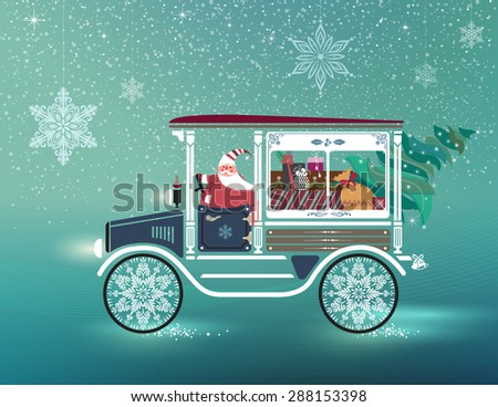 Cute Santa Claus in antique car delivering Christmas tree and gifts. Happy holidays concept.  Illustration.  - stock vector