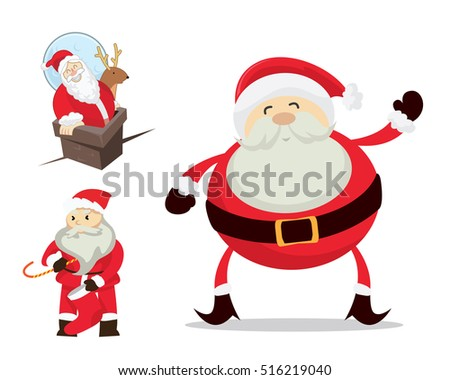 cute santa claus in christmas activities character set - Santa Claus Activities