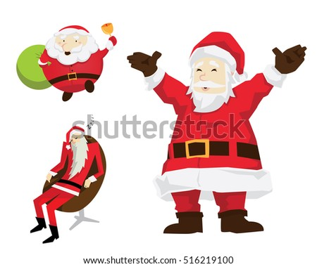 Cute Santa Claus In Christmas Activities Character Set