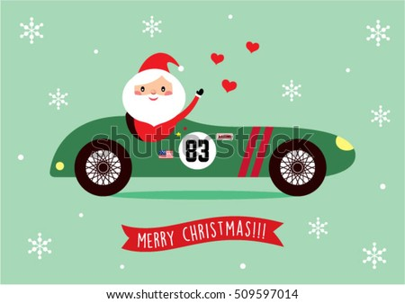 cute santa claus ride on vintage racing car merry christmas greeting card vector