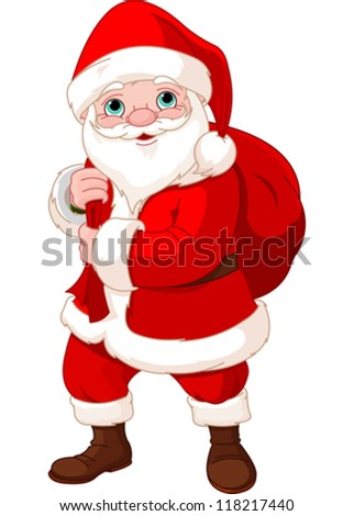 Cute Santa Claus with a bag full of Gifts - stock vector