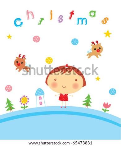 cute santa girl christmas celebration - stock vector