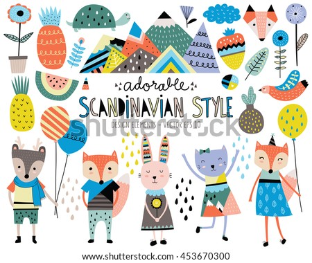 Cute Scandinavian Style Animals and Design Elements Vector - stock vector