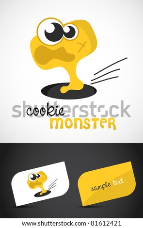 Cute, scared monster icon such logo & stylized business cards, EPS10 vector, - stock vector