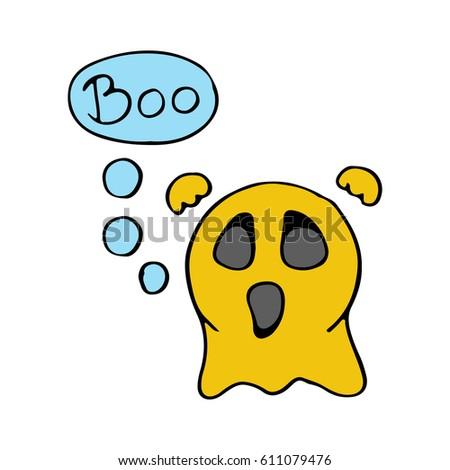 Superb Cute Scary Ghost Emoticon Say BOO. Emoji, Smiley   Vector Sign  Illustration. Cartoon