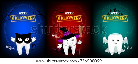 Cute Scary Tooth Character Design Of Black Cat, Witch And Ghost. Happy  Halloween Day