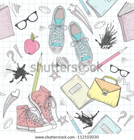Cute school abstract pattern. Seamless pattern with shoes, bags, glasses, stars, books and ink stains. Fun pattern for teenagers or children. - stock vector