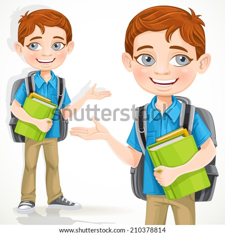 Cute school boy with books and backpack - stock vector