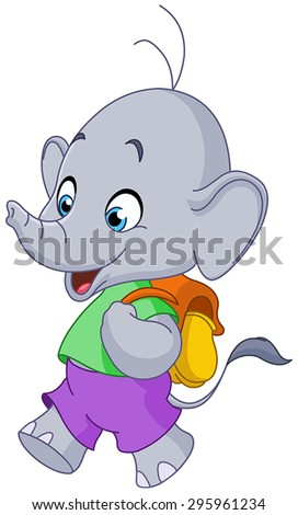 Cute school elephant walking with a backpack - stock vector