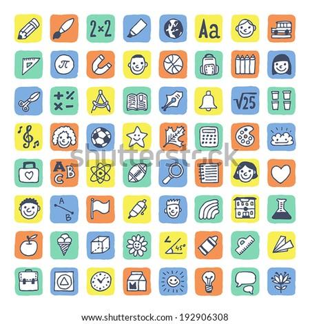 Cute school icons set. Vector. Hand drawn.  - stock vector