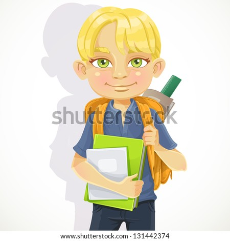 Cute schoolboy with textbooks and notebooks backpack - stock vector