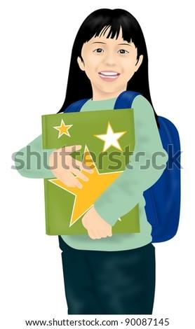 Cute schoolgirl - stock vector