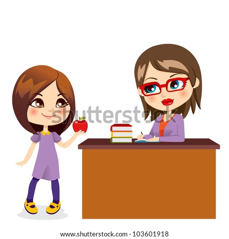 Cute schoolgirl gives sweet red apple to beautiful young teacher - stock vector