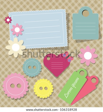 cute scrap book elements - stock vector
