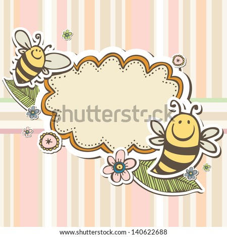 Cute scrap set with flowers and bee - stock vector