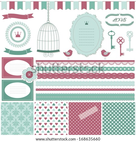 Cute scrapbook design elements set - frame, garland, card, signboard, lace, ribbon, bird cage, laurel wreath, crown, key, button, scotch tape and four romantic seamless pattern background.  - stock vector