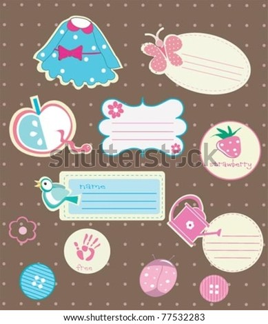 Cute Scrapbook elements and design elements for girls. - stock vector