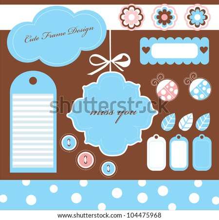 cute scrapbook elements collection.vector illustration