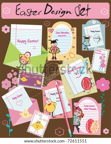 CUTE Scrapbook elements, for easter. - stock vector