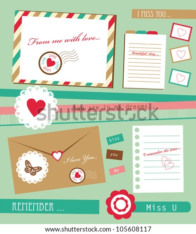 cute scrapbook elements. vector illustration