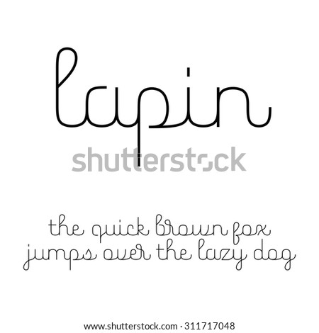 Cute script font with Latin letters in lowercase - stock vector