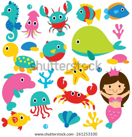 cute sea animals clip art set - stock vector