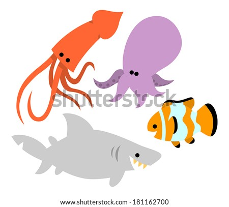Cute squid stock photos illustrations and vector art