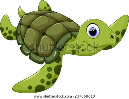 Cute Sea Turtle Cartoon Stock Vector 237858619 - Shutterstock