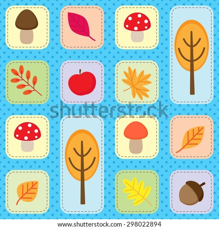Cute seamless autumn pattern with nature elements. Vector background with fall leaves, trees, mushroom, acorn and apple - stock vector