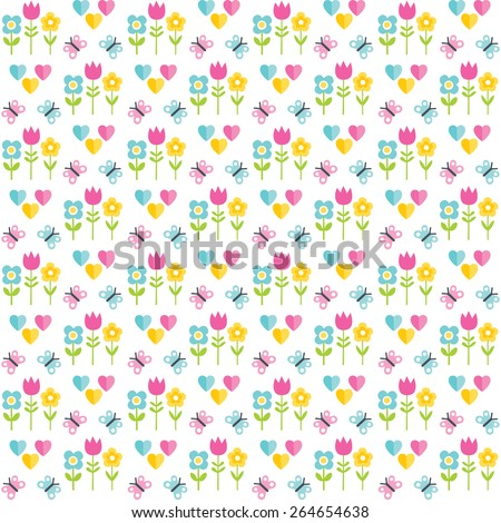 Cute, seamless background pattern with butterflies, flowers and hearts in yellow, white, pink and blue. For Spring and Easter, scrapbooking, baby, kids, Mother's Day, wedding. - stock vector