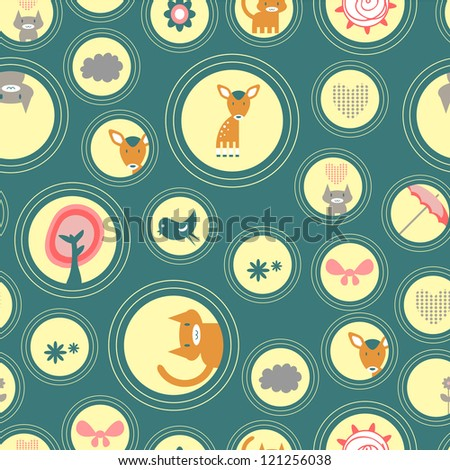 Cute seamless background with animals and various elements - stock vector