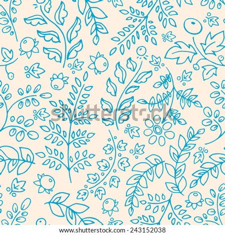 cute seamless background with blue flowers leaves and berries
