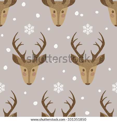 Cute seamless background with deers and snowflakes - stock vector