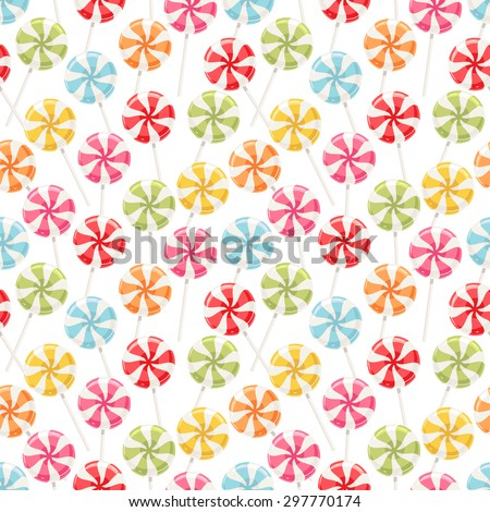 Cute seamless background with different color striped candy - stock vector