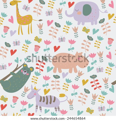 Cute seamless background with funny giraffe, elephant, zebra, hippo, koala and flowers in cartoon style. - stock vector