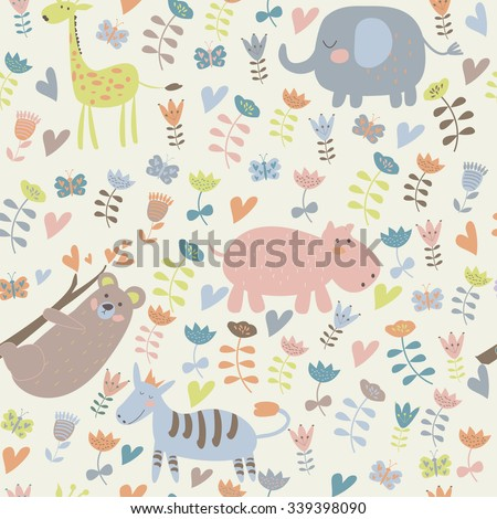 Cute seamless background with funny giraffe, elephant, zebra, hippo, koala and flowers in cartoon style.