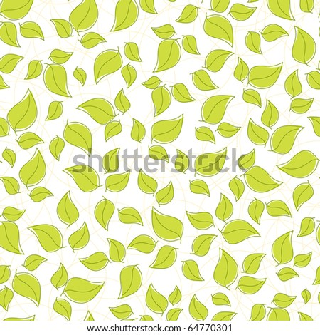 Cute seamless background with green leaves (EPS10) - stock vector