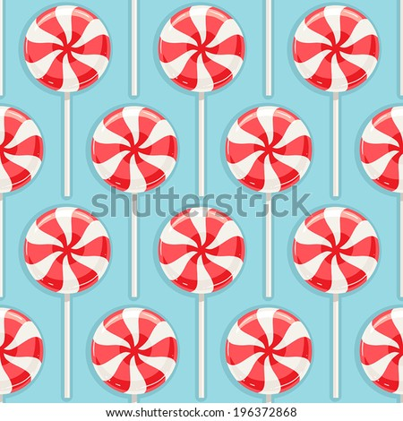 Cute seamless background with red and white striped candy - stock vector