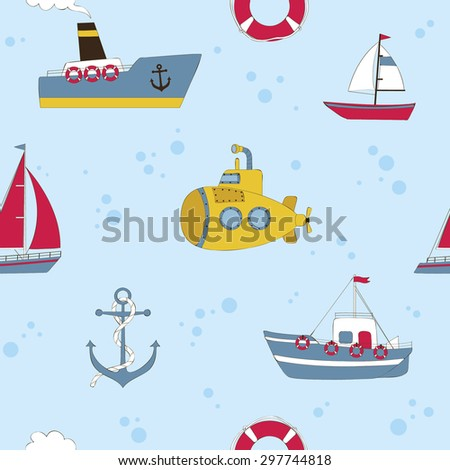 Cute seamless background with water transport - stock vector