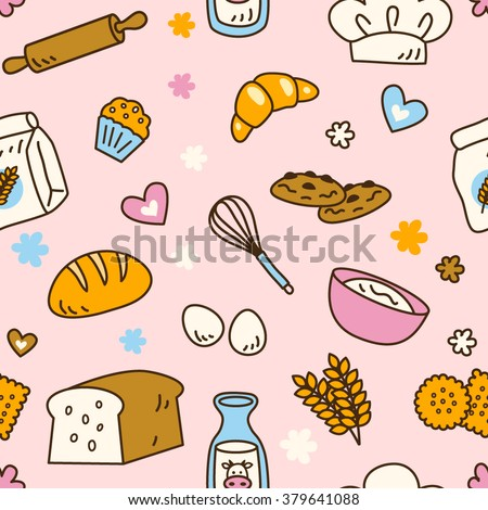 Cute seamless bakery pattern with pretty pink background color in vector. Suitable for wallpaper, wrapping paper, packaging, fabric, or textile pattern. - stock vector