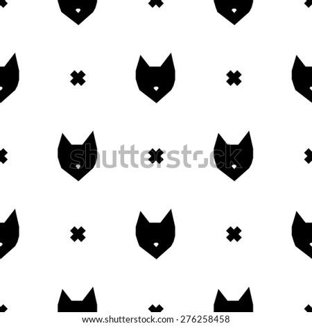 cute seamless black and white abstract baby kids hipster background with fox and crosses - stock vector